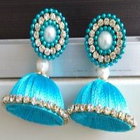 Jewellery | Silk Thread | Blue Jhumka | CardsNCrafts