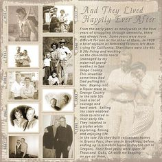2 ~ Adding the subtle tabs along the sides of the photos with dates helps to define the time-line of their lives and keeps the viewer engaged. Heritage Scrapbook Pages, Vintage Scrapbook, Wedding Scrapbook, Family History Book, History Books, Album Photo, Photo Book, Old Family Photos, Up Book