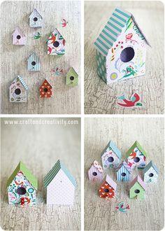 Ladda hem min mall och gör dina egna fågelhus av tjockt mönstrat papper eller kartong! Jag valde en kartong i A4-storlek som heter Romantic Flowers och som är en nyhet hos oss på Make & Create. Det fi