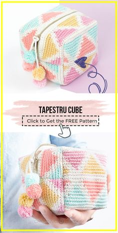 crochet Tapestru CUBE free patern – easy crochet bag pattern for beginners Crochet Projects To Sell, Beginner Knitting Projects, Knitting For Beginners, Single Crochet Stitch, Basic Crochet Stitches, Easy Crochet Patterns, Crochet Pencil Case, Crochet Pouch, Crochet Bags