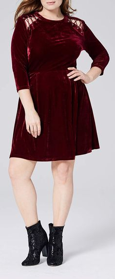 Simply Be plus size berry velour skater dress