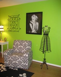 Boutique Ooh La La vinyl lettering Paris wall decal French decor-- I would use a lighter, more spring green, but I like the feel