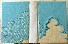 running stitch embroidery on journal  by the smallest forest