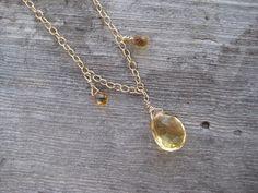 Hanging Citrine Faceted Teardrop Gemstone by SleepingCatDesigns, $48.00