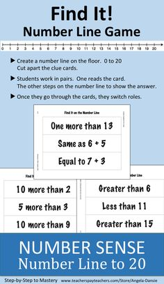 "(Guided Math/Tutoring) FREE Number Sense and Place Value Activity ~ Using a Number Line ~ First Grade Math ~ Students could also write their own ""clue"" cards for the game. Number Line Games, Number Line Activities, Math Activities, Math Games, Number Bonds, Math Tutor, Math Skills, Math Lessons, Teaching Math"