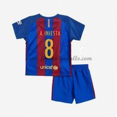 Barcelona Lasten Jalkapallo Pelipaidat 2016-17 A. Iniesta 8 Kotipaita