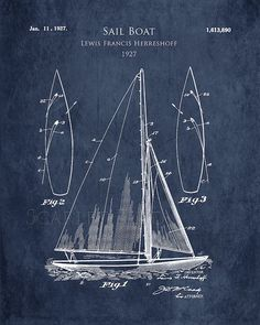 1920s Sail Boat patent print sail boat blueprint by ScarletBlvd #TinyFirstMate #DreamTeam #PinToWin
