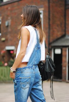 Overall Jean Tirantes Outfit Street Style Verano TRESemmé Style Salopette, Salopette Jeans, Denim Fashion, Look Fashion, Womens Fashion, Fashion Trends, Overalls Fashion, Looks Style, Style Me