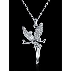 Little Fairy Pendant Necklace ($17) ❤ liked on Polyvore featuring jewelry, necklaces, rhinestone jewelry, pendant necklaces, pendant jewelry, rhinestone pendant and rhinestone pendant necklace