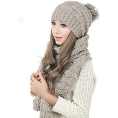 Womens Fashion Scarves Winter Knitted Scarf And Hat Set Thicken Skullcaps  Beige  fashion  clothing 901ff29e34ac