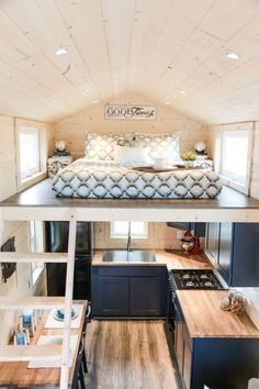Mansion by Uncharted Tiny Homes The kitchen features a four burner stove, a large sink, and an apartment size refrigerator. Related posts: Desks that Convert to Table for our Tiny House on Wheels (Ana White) Breathtaking Tiny Attic Storage Ideas Best Tiny House, Modern Tiny House, Tiny House Living, Tiny House Plans, Tiny House Kitchens, Mansion Kitchen, Small Tiny House, Small Room Design, Tiny House Design