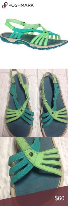 MERRELL ENOKI LINK STRAPPY SANDALS hiking walking NICE PAIR OF MERRELL ENOKI LINK STRAPPY SANDALS  WOMEN SIZE 9 US  MODEL J35354  BRIGHT GREEN COLOR  GREAT USED CONDITION  SEE PICTURES FOR DETAILS Merrell Shoes Sandals