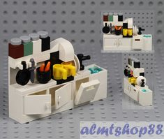 Details about LEGO - Kitchen Cupboard w/ Sink Dishwasher Coffee Maker Cabinet Minifigure Food : Dishwasher, Sink, Coffee Maker, Condiment Jars & Accessories. Original LEGO Parts. Kitchen Cupboard/Cabinets w/. Legos, Minifigura Lego, Lego Craft, Buy Lego, Lego Batman, Lego Kitchen, Kitchen Cupboards, Kitchen Maker, Larder Cupboard