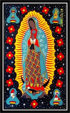 Virgin of Guadalupe Catholic Art, Religious Art, Catholic Children, Art Chicano, Chicano Tattoos, Mexican Paintings, Frida Art, Mexico Art, Mama Mary