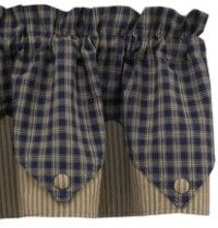 Navy Blue Point Valances - Sturbridge Navy Pointed Valance - Possible new valance for kitchen? Living room & dining room?