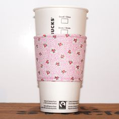 New to Chockrosa on Etsy: Floral Fabric Coffee Cozy - Eco friendly cozy - Cup Sleeve - Hot Cup Jacket - Drink Cozy - Pink with flowers floral - Premium