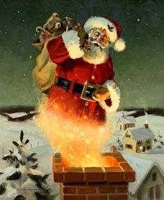 santa going down chimney  my favorite christmas picture of santa,,, shows all the magic,,,