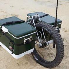 Honey Badger Wheel: The All-Terrain Mechanical Advantage by Mike Merrell — Kickstarter Bike Cargo Trailer, Motorcycle Trailer, Cargo Bike, Bike Trailers, Bushcraft Camping, Camping Gear, Fishing Cart, Beach Cart, Honey Badger