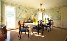 "Our design ""Maysong Green"" installed in this beautifully arranged dining room."