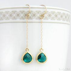 Emerald Long Drop Earrings  Crystal Bezel Earrings by MuseByLAM, $29.00