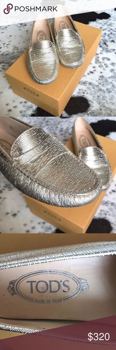 Tod's Loafers Gold distressed leather loafers, super comfortable! Cute with any outfit! Gently worn! Tod's Shoes Flats & Loafers