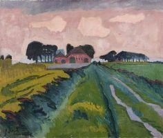 Jan Altink, De rode boerderij, 1924,  was/olieverf op doek, 60,5 x 70,5 cm