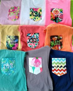 Monogram shirts with patterned pockets!