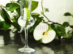 grappa flavored with green apple