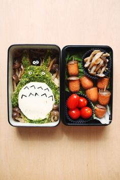 Lunch Totoro bento (made for a kyaraben lunchbox meet): Totoro made w/ cauliflower mash (bacon/cheddar/sour cream/butter) topped w/ seaweed flakes, cheese and seaweed cutouts; soot sprite on Totoro's head made w/ seaweed-wrapped cauliflower mash, Shimeji mushrooms panfried w/ butter and kosher salt, acorns made w/ Shimeji mushroom caps + pork sausages, 4 cherry tomatoes Green tea –  ETA: iPhone shots from the meet~  Character bentos! My Neighbour Totoro, Kyojin (Titan) from Shingeki no…