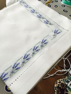 Cross stitch border, lavender sprigs. (No pattern, no link, ideas only).