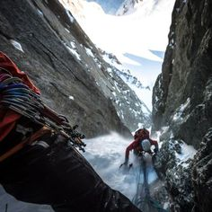 Cold, dark and narrow... Karine coming up P2 of the Modica-Noury on Mont Blanc du Tacul.  Alexandre Buisse Photography