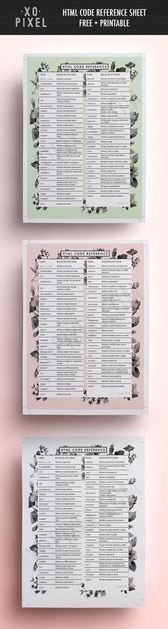 HTML Reference Sheet (Free PDF) via XO PIXEL--@lhoovygirl