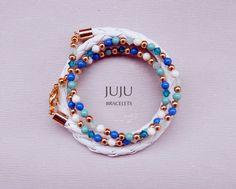 Women's wrap leather bracelet Women's white leather wrap bracelet Turquoise wrap bracelet Blue wrap bracelet White and gold bracelet wrap