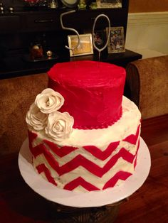 Gillian Arnold's Red chevron birthday cake with sugar roses