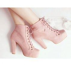 Lita platforms high heels lace up boots