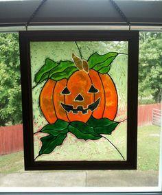 Fall Window Decor  Glow in the Dark  by CreativeGlassByBecky