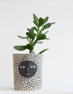 Kaonashi's cousin - Polka dot ceramic planter  - Ceramic one of a kind - 3d face