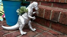awesome dinosaur planter, container gardening, crafts, flowers, gardening, how to, repurposing upcycling, succulents