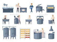 Dairy Production Cartoon Icons Set