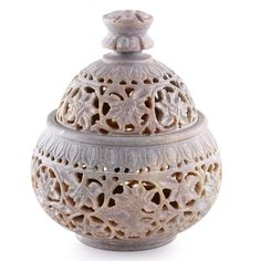 "Ivy and Lace :Hand Carved Soapstone Decorative Jar   Finely carved in jali or openwork, ivy swirls in lacy patterns  Product Code : TL-105  Size: 5.5"" H x 4.9"" Diam.  Weight: 1.0 lbs"