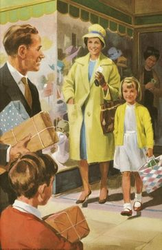 Shopping - Peter And Jane, The Big House . Retro Images, Vintage Pictures, Old Pictures, Vintage Images, Vintage Advertisements, Vintage Ads, Vintage Posters, Family Illustration, Cute Illustration