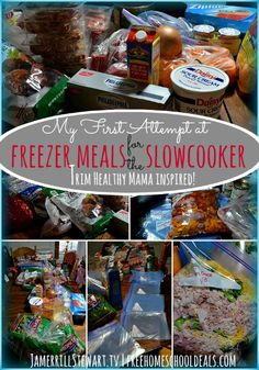TRIM HEALTHY MAMA inspired! My First Attempt at Freezer Meals for the Slowcooker + VIDEO Included! Make Ahead Freezer Meals, Slow Cooker Freezer Meals, Crock Pot Freezer, Slow Cooker Recipes, Crockpot Recipes, Bulk Cooking, Batch Cooking, Freezer Cooking, Trim Healthy Mama Plan