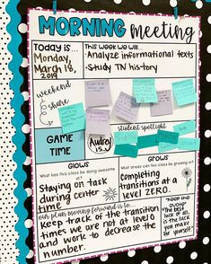Morning Meeting Poster is part of grade classroom - This freebie includes 3 designs of a morning meeting poster and student spotlight response sheets 5th Grade Classroom, Classroom Behavior, Classroom Posters, School Classroom, Classroom Ideas, Future Classroom, Classroom Meeting, Classroom Routines And Procedures, Classroom Economy