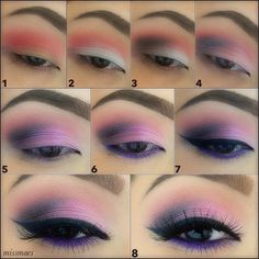 Pretty Pink Makeup Looks Matte Makeup, Purple Makeup, Purple Eyeshadow, Eyeshadow Brushes, Makeup Brushes, Beautiful Eye Makeup, Perfect Makeup, Beautiful Eyes, Makeup Tips