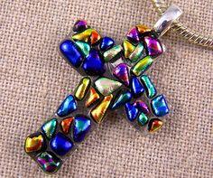 Mosaic Dichroic Cross Pendant Cobalt Blue Teal by HaydenBrook