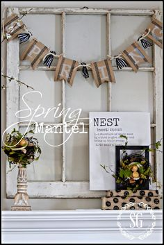 A Chippy Blooming Nest-Inspired Spring Mantel Bunny Napkin Fold, Thanksgiving, Easter Projects, Diy House Projects, Wood Projects, Spring Sign, Spring Is Coming, Seasonal Decor, Farmhouse Decor