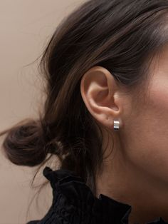 Effortless band hoop earrings. 925 STERLING SILVER AVAILABLE IN SILVER OR GOLD VERMEIL HANDCRAFTED IN COPENHAGEN ALL JEWELRY IS HANDMADE TO ORDER, PLEASE ALLOW UP TO 3 WEEKS BEFORE SHIPPING