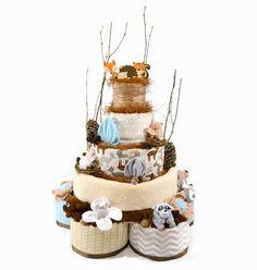 Woodland Diaper Cake 5 Tier Deluxe Baby Shower par babyblossomco