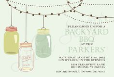 Vintage Hanging Mason Jars- Custom Backyard Summer BBQ, Birthday, Housewarming, Garden Party Invitation - Aqua, Pink, Teal, Green -5 Designs