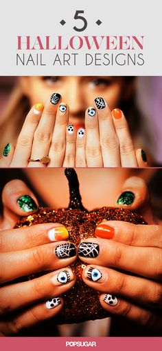 5 fun Halloween nail art designs: evil eye, Frankenstein, skull, spiderweb and candy corn